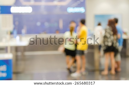 Blurred of people walking in shopping center,test mobile phone shop. - stock photo