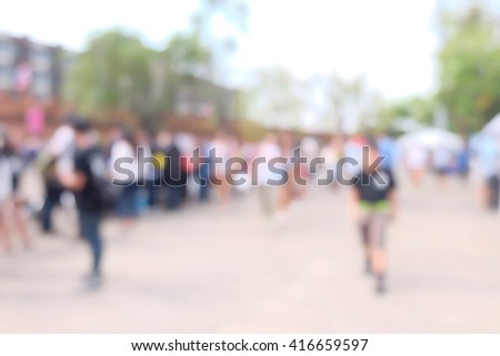 blurred of people walking in the city - stock photo