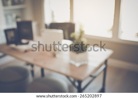 Blurred Office with Computer applying Retro Instagram Style Filter - stock photo