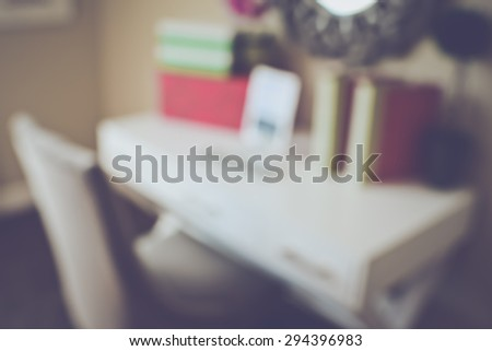 Blurred Office with Tablet Computer applying Retro Instagram Style Filter - stock photo