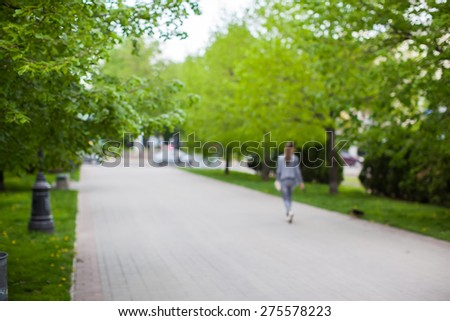 Blurred park with bokeh light, natural background - stock photo