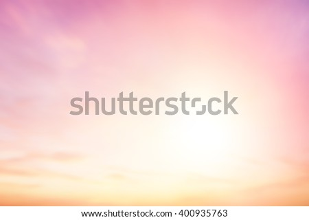 Blurred peaceful sunset background. Sky Sunbeam Glowing Blurry Beach Outdoor Bokeh Texture Open View Abstract Summer Light Travel skyline Smooth Relax Gradient Landscape Spring Clouds Soft Pink Clean - stock photo