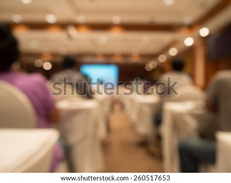 blurred people sitting rear at the business conference - stock photo