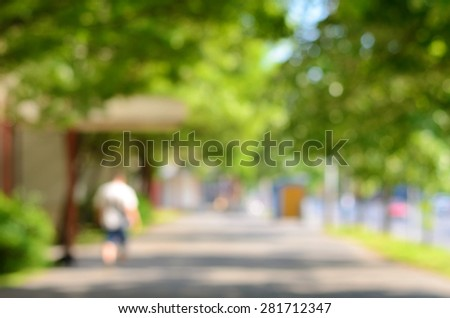 Blurred photo of a city street, detail - stock photo