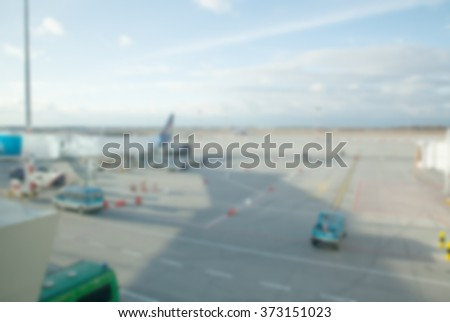 Blurred scene in the airport. - stock photo