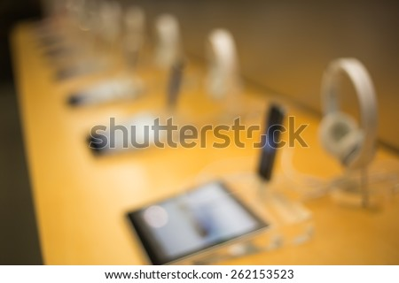 blurred shopping mall background / shopping in electric store - stock photo