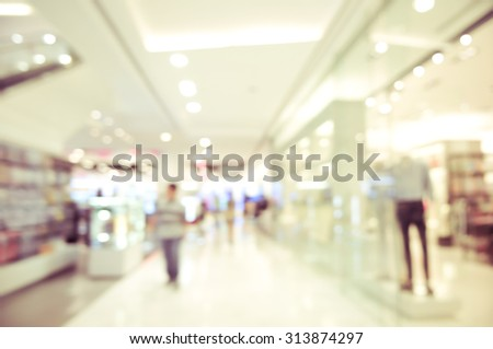 blurred shopping mall -  mannequins blur background concept - stock photo