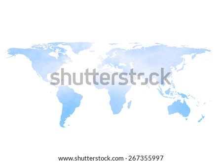 blurred sky and clouds world map isolated on white background:land of continent boarder around global:landmass map of the world concept. - stock photo