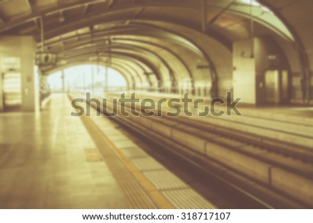 Blurred subway at station, transportation background and vintage - stock photo