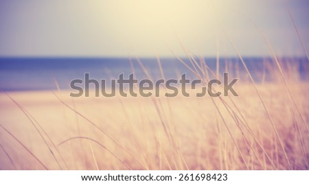 Blurred summer beach background in retro vintage style. - stock photo