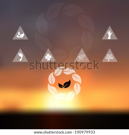 Blurred sunset sky background. Website and mobile template. Nature, ecology, environment, travel or vacation design. Nature protection concept and symbols. - stock photo