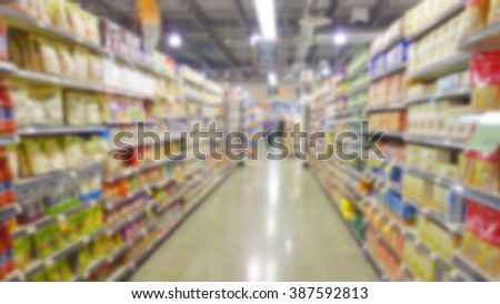 Blurred supermarket aisle and shelves - stock photo