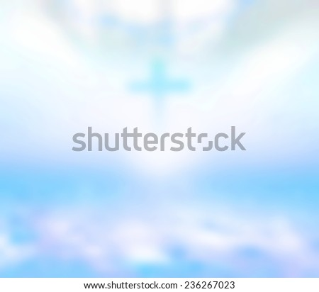 Blurred the cross and crown of thorns over beautiful sunset background. - stock photo