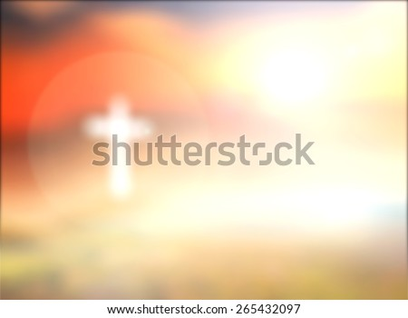 Blurred the white cross over beautiful sunrise with amazing light background. Christmas, Thanksgiving, Worship, Forgiveness, Mercy, Humble, Repentance, Reconcile, Adoration, Glorify, Peace concept. - stock photo