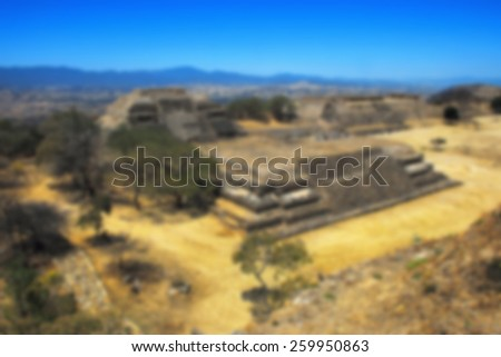Blurred travel backgrounds. Aerial view of Monte Alban Ruins, Oaxaca, Mexico - stock photo