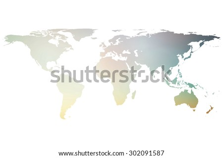 blurred twilight sky world map isolated on white backgrounds - stock photo