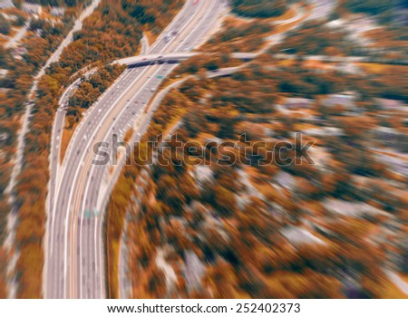 Blurred view of interstate. - stock photo