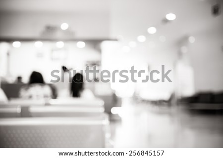 Blurred waiting chairs use as background - stock photo