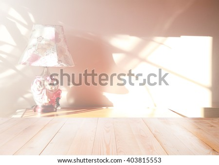 Blurred wall with home interior shadow with wooden background - stock photo