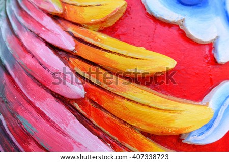 Blurry abstract pattern colored paint on concrete wall in Chinese temple at Hat Yai Songkhla southern Thailand:Close up,select focus with shallow depth of field:ideal use for background - stock photo