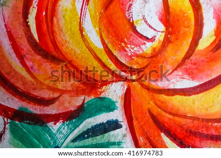 Blurry abstract pattern colored paint on concrete wall in thai temple:Close up,select focus with shallow depth of field:ideal use for background  - stock photo
