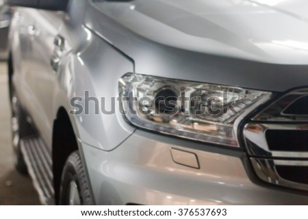 blurry and close up the headlights of cars - stock photo