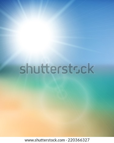 Blurry beach and blue sky with summer sun burst,  background illustration - stock photo