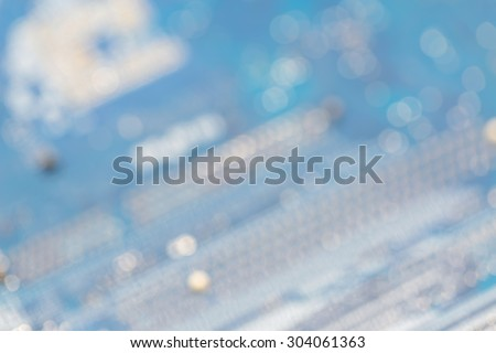 Blurry close up behind of motherboard old version blurred computer background - stock photo