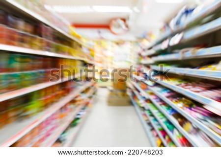 Blurry convenience store shot by moving camera with slow shutter speed - stock photo