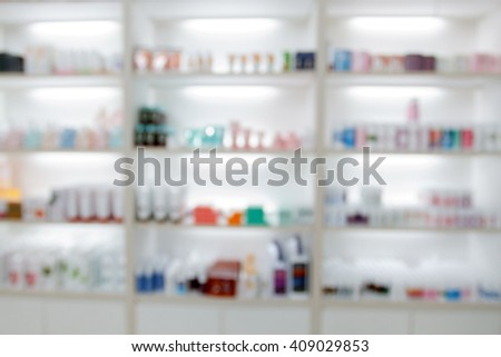blurry medicine cabinet and store medicine and pharmacy drugstore for background - stock photo