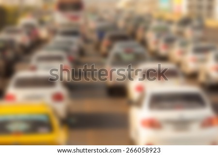 blurry of traffic jam on the expressway in Bangkok Thailand - stock photo