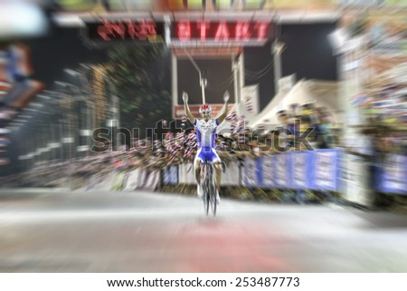 blurry success and finish Asian Cycling Championship during the race for background - stock photo