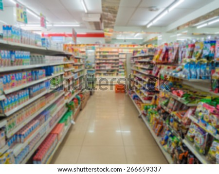 Blurry Supermarket - stock photo