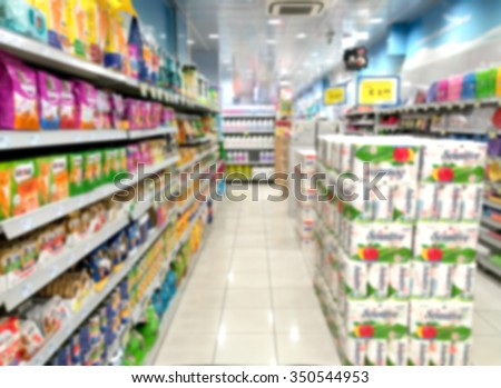 Blurry Supermarket Interior background - stock photo