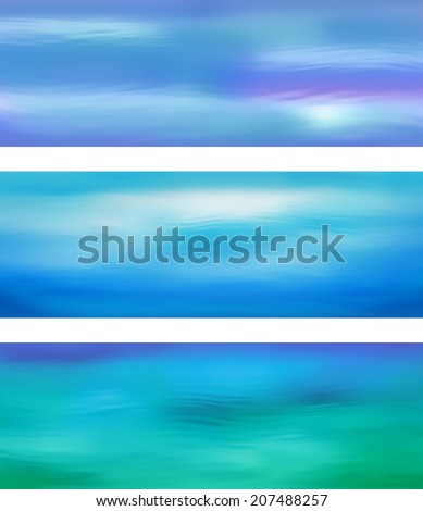 Blurry water ripple blue banner with abstract smooth lines. Website header or banner set - stock photo