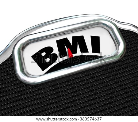BMI acronym for Body Mass Index measurement on a scale to evaluate or test your fitness level - stock photo