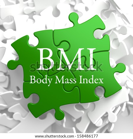 BMI- Body Mass Index - Written on Green Puzzle Pieces. Health Concept. - stock photo