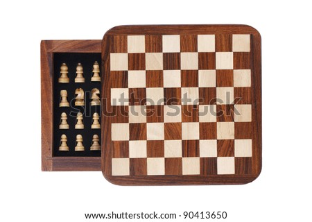 Board with a little pocket chess on white background - stock photo
