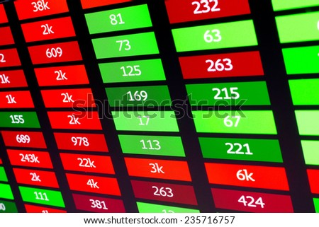 Board with financial data and numbers, displaying red and green tags - stock photo