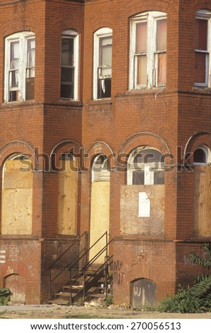 Boarded up abandoned brick building, Washington D.C. - stock photo