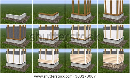 Boarding house wall panels, siding and insulation. - stock photo