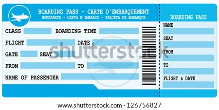 Boarding pass. Blue flight coupon. - stock photo