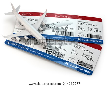 Boarding pass. Tickets and airplane on white isolated background. 3d - stock photo
