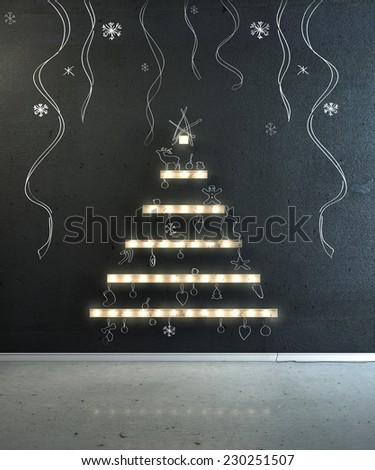 Boards with lightbulb in the form of a Christmas tree on a wall with hand painted decoration. Happy new year and Christmas. - stock photo