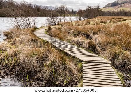 Boardwalk Loch Tay near Killin in Scotland. - stock photo