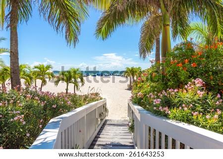 Boardwalk on beach in St. Pete, Florida, USA - stock photo
