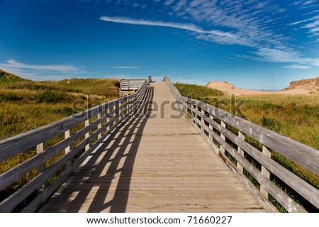 Boardwalk to the ocean - stock photo