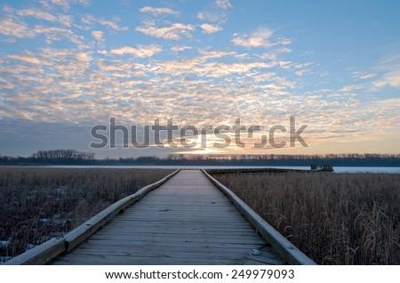 Boardwalk toward minnesota river across wetlands of minnesota valley wildlife refuge in bloomington  - stock photo