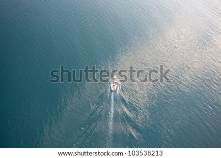 Boat, aerial view - stock photo