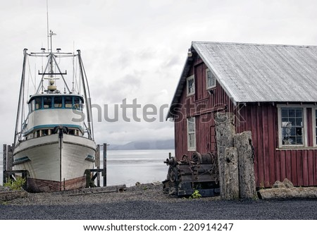 Boat and Machine Shop in Icy Strait Point, Hoonah, Alaska - stock photo